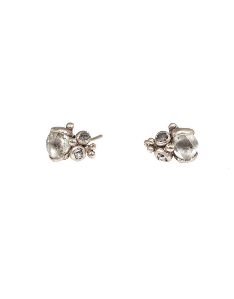Raw Diamond Post Earrings in 18k Warm White Gold