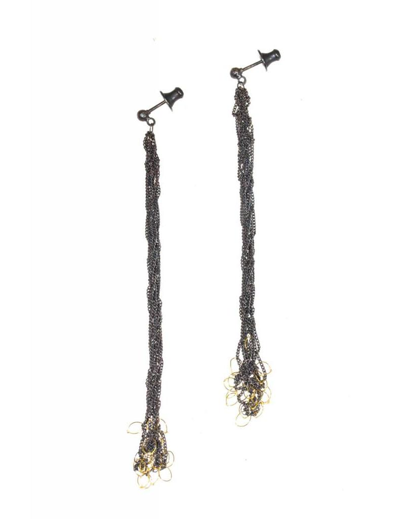 Chain Knot Earrings in Oxidized Silver and 18k Yellow Gold Accent
