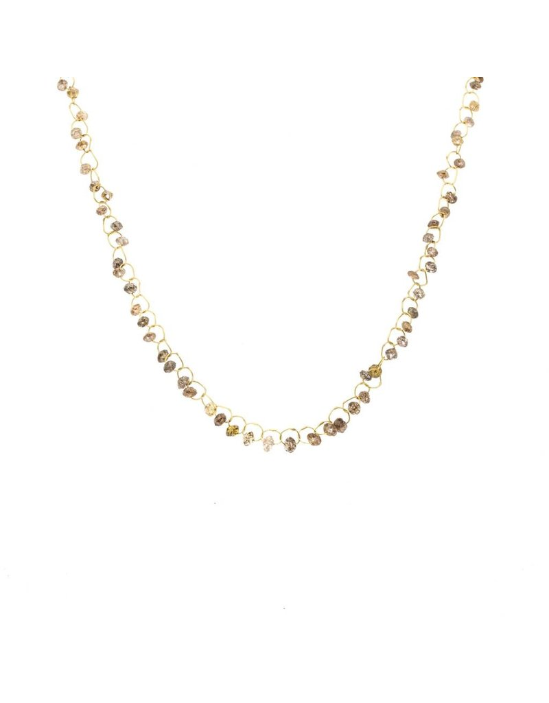 Champagne Diamond Links Necklace in 18k Yellow Gold