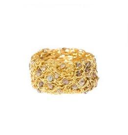 Diamond Nest Ring with Diamond Beads in 18k Yellow Gold