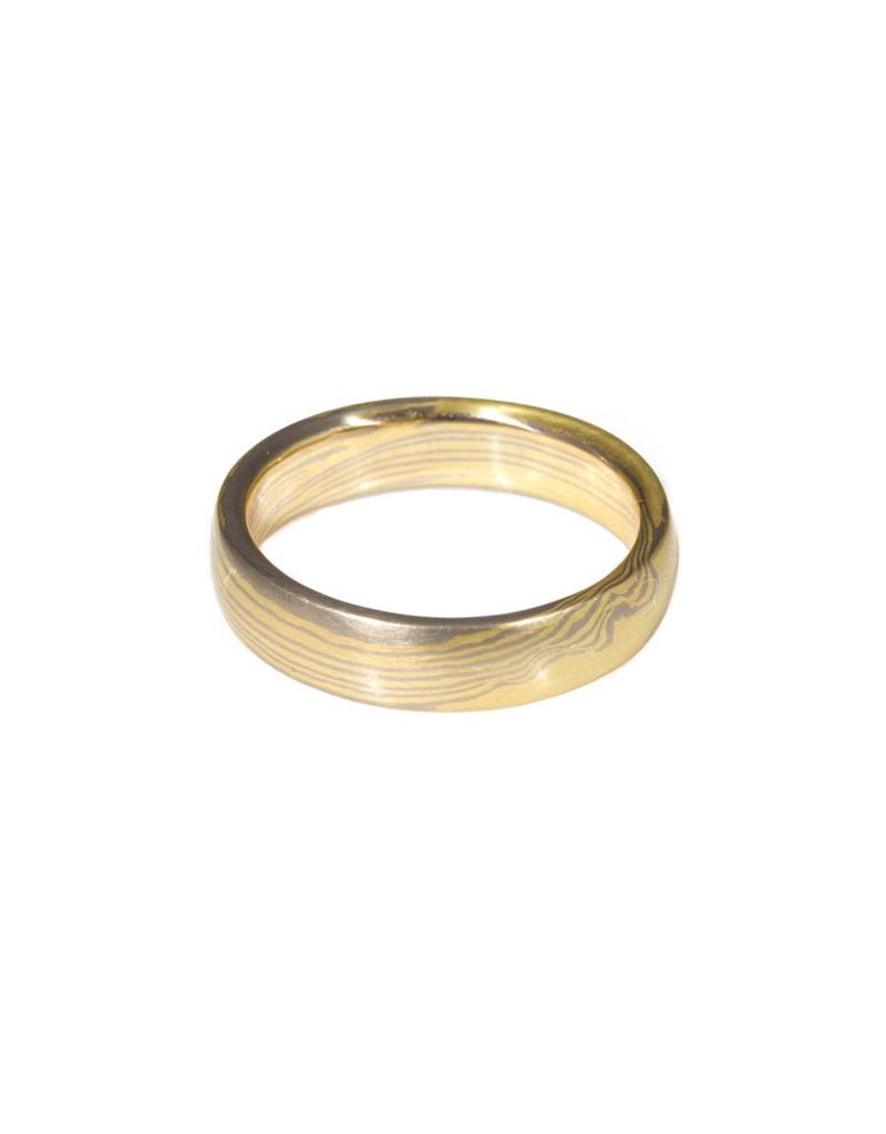 Mokume Gane Ring in 18k Yellow Gold and 14k Palladium White Gold