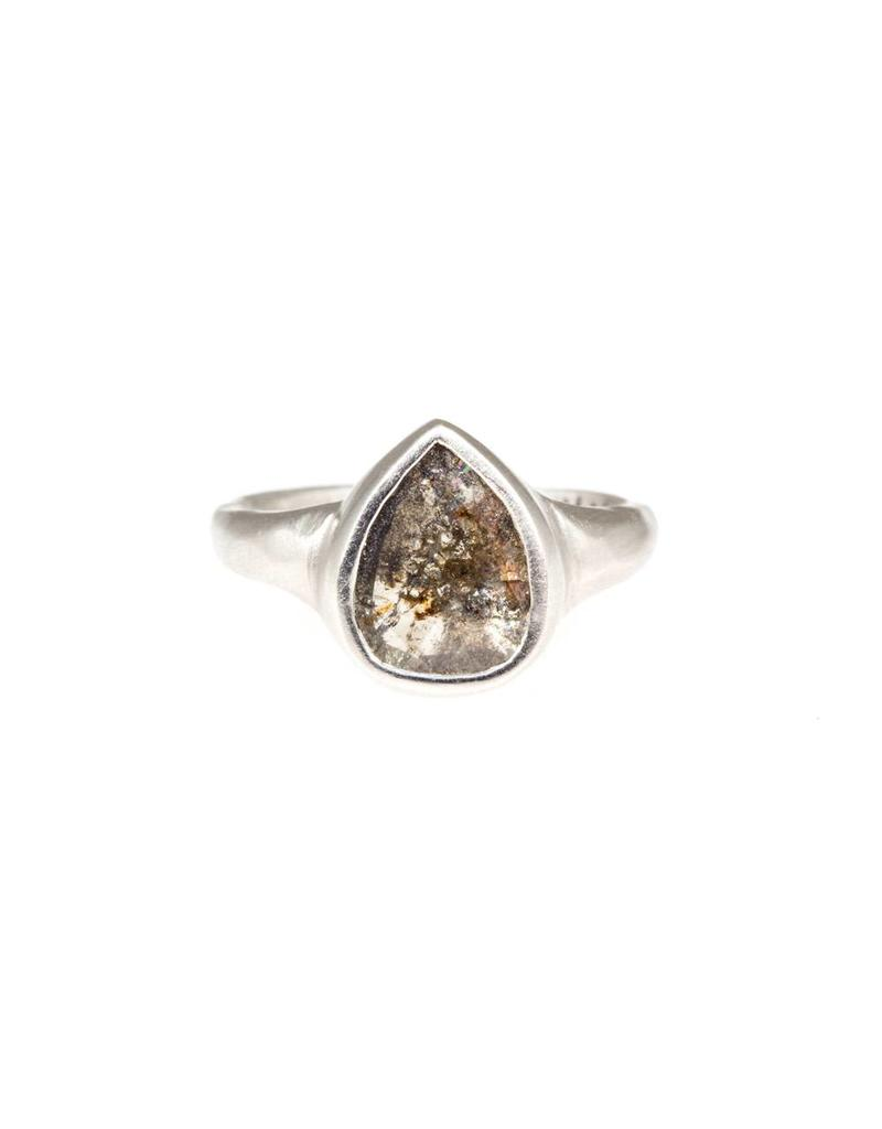 Teardrop with Dark Grey Rose Cut Diamond in Platinum