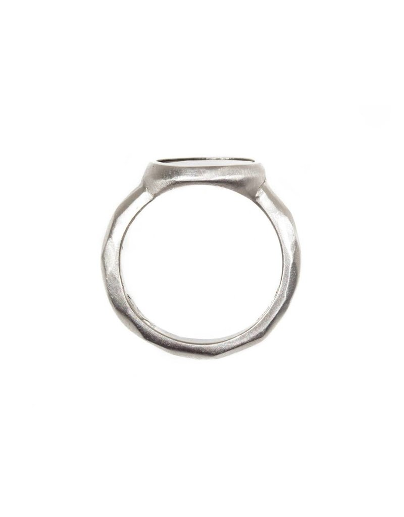 Round Bezel Set Diamond Slice Ring in Platinum
