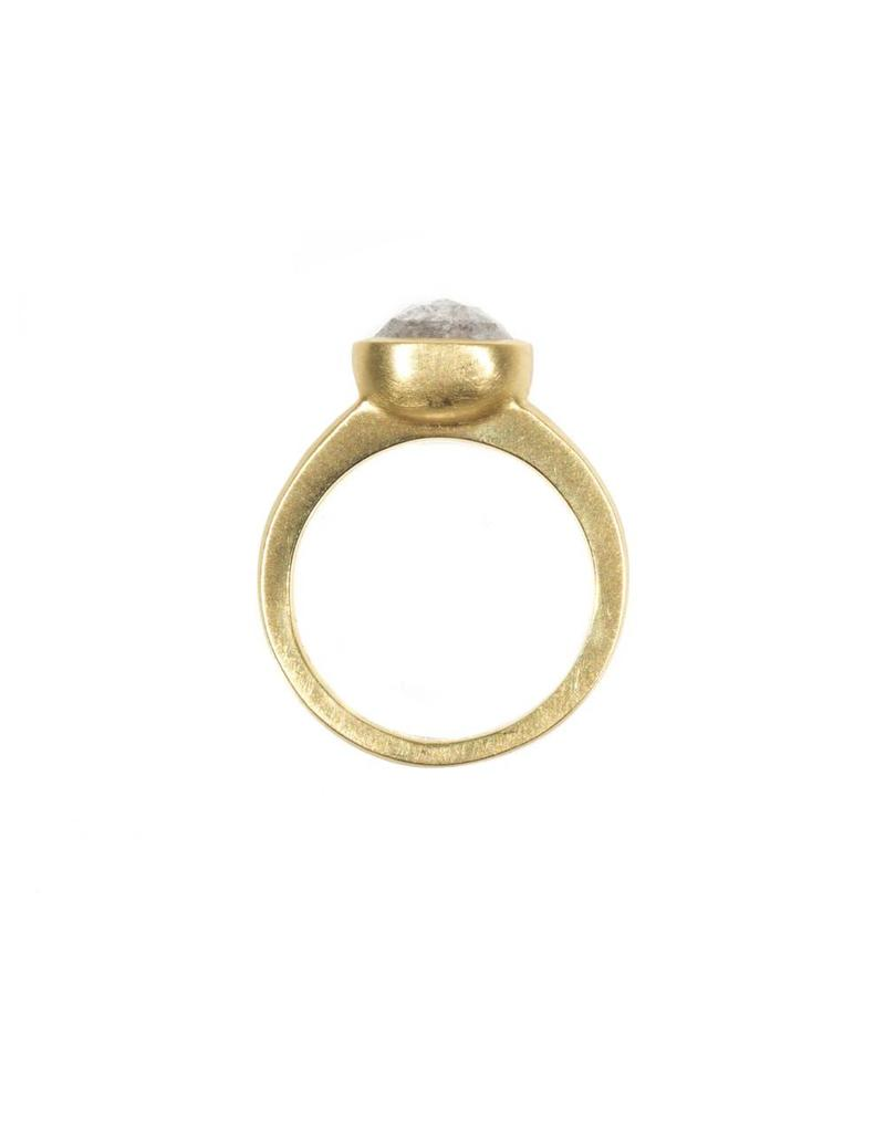 Raised Cup Solitaire Oval Rustic Diamond Solitaire Ring in 18k Yellow Gold