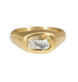Horizontal Organic Oval Diamond Crystal Ring in 22k