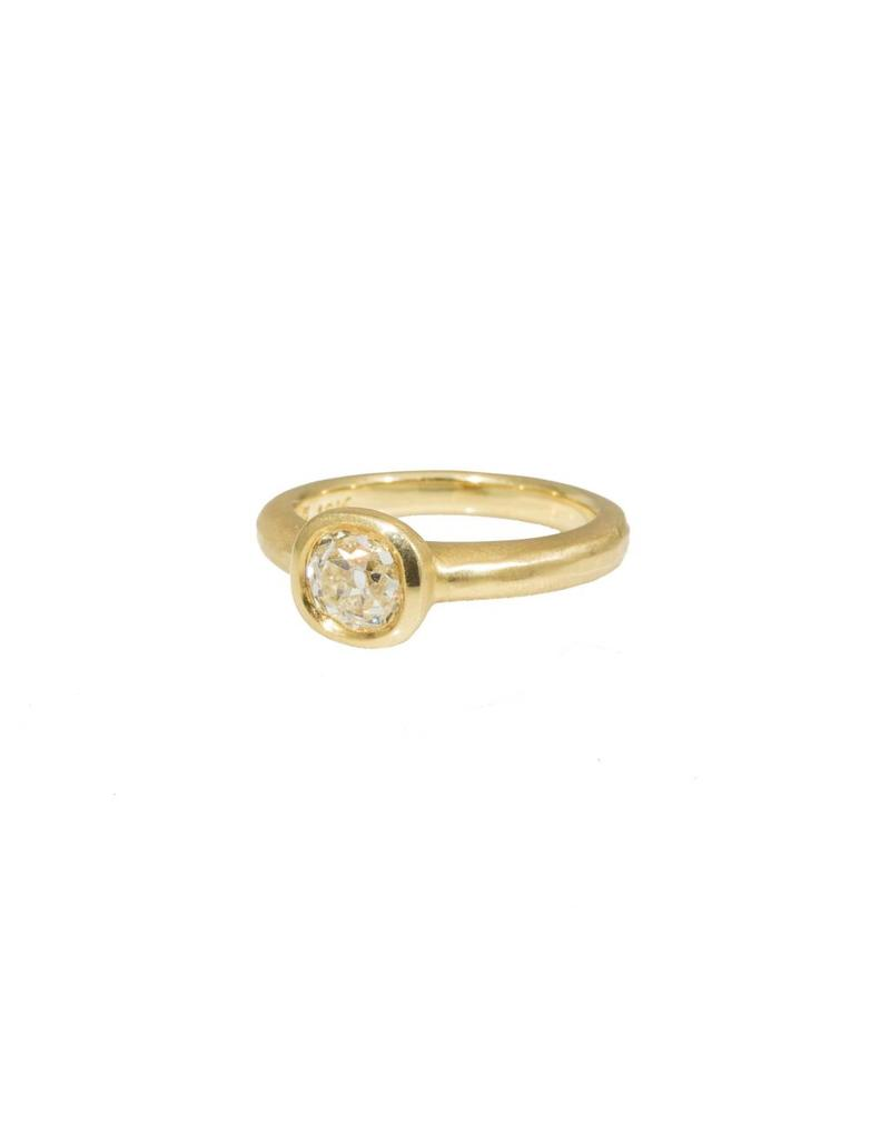Raised Cup Setting with Old European Cut Antique Diamond in 18k Yellow Gold