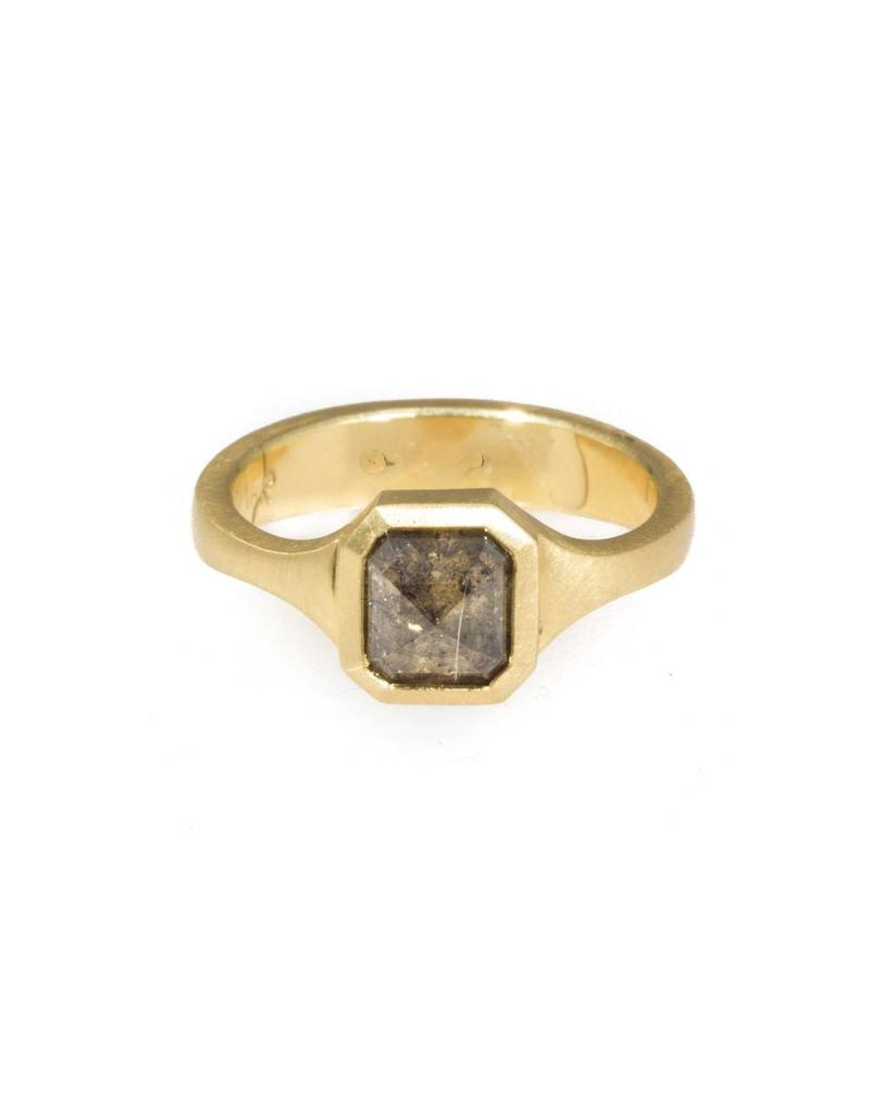 Pyramid Cognac Diamond Ring in 18k Yellow Gold