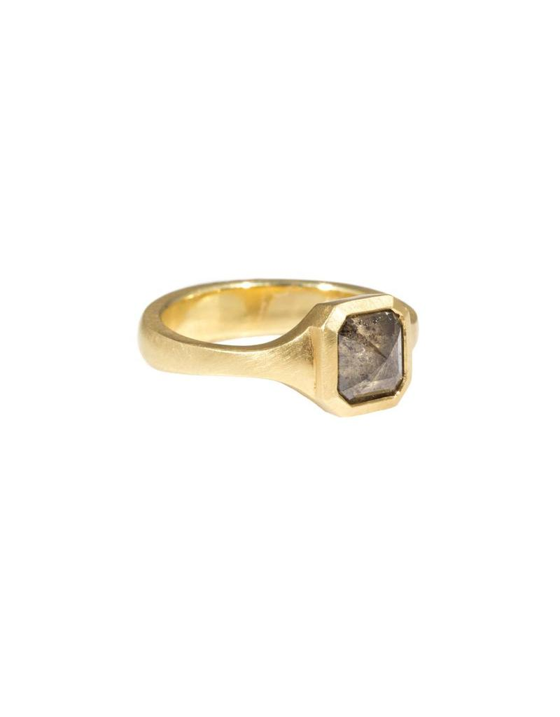 Square Salt and Pepper Diamond Ring in 18k Yellow Gold