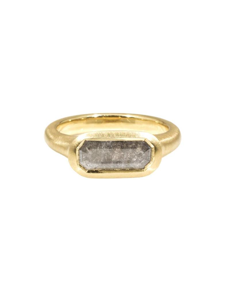 Long Octagon Diamond Slice Ring in 18k Yellow Gold