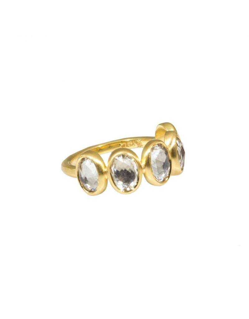 White Oval Sapphire Half Eternity Band in 18k Yellow Gold