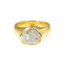 Teardrop Shaped Diamond Slice Ring in 18k Yellow Gold