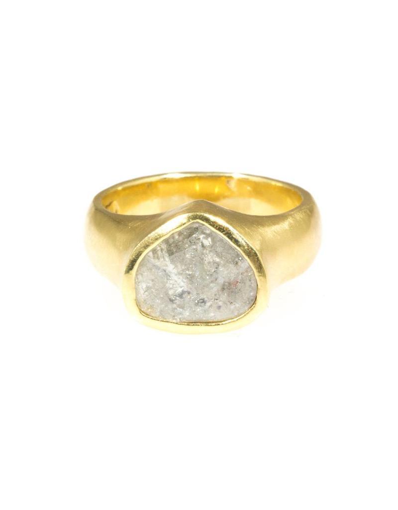 Teardrop Shaped Diamond Slice Ring in 18k Yellow Gold