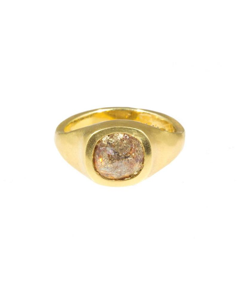 Cushion Shaped Rosecut Rose-Red Diamond Ring in 18k Yellow Gold
