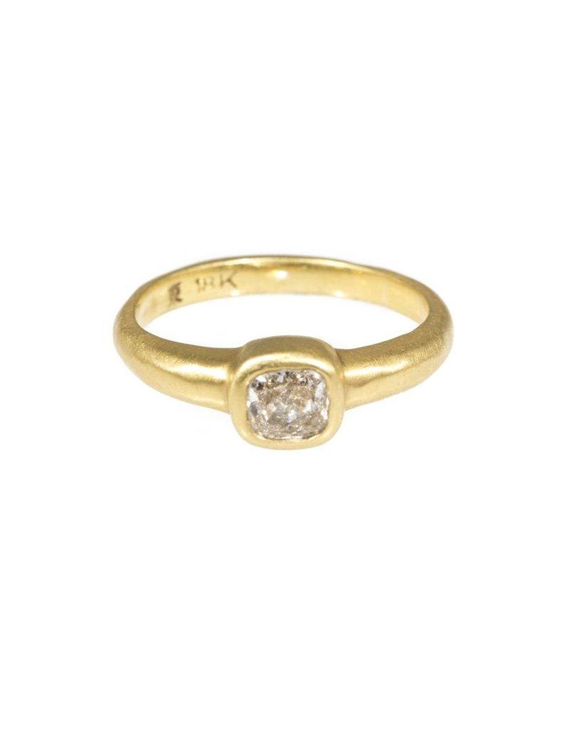 Cushion Cut Diamond Ring in 18k Yellow Gold