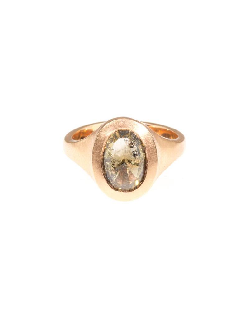 Oval Cognac Diamond Set in 18k Rose Gold
