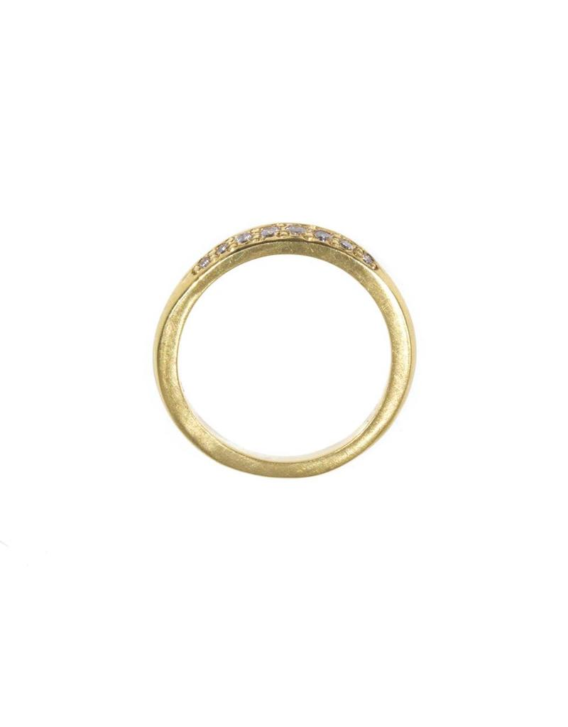 Wave Bead Set Band with White Diamonds in 18k Yellow Gold