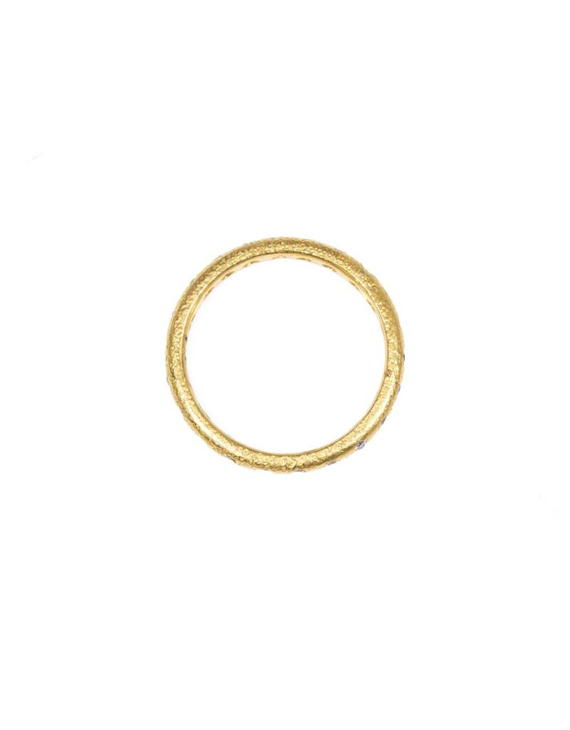 Eternity Diamond Band with Sand Texture in 22k Gold