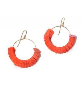 Orange Squares Earrings Small