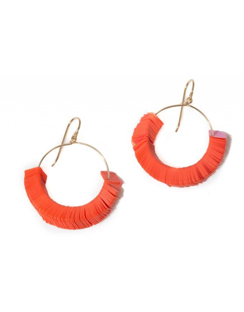 Orange Squares Earrings Small