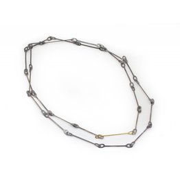 Long Oval Link Chain Necklace in Oxidized Sterling Silver and 18k Yellow Gold
