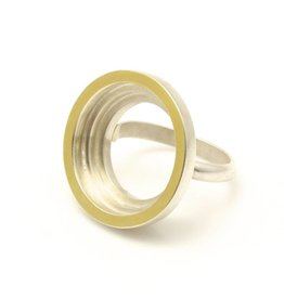 Open Circle Ring with Gold Edge in 22k and Silver Bi-Metal