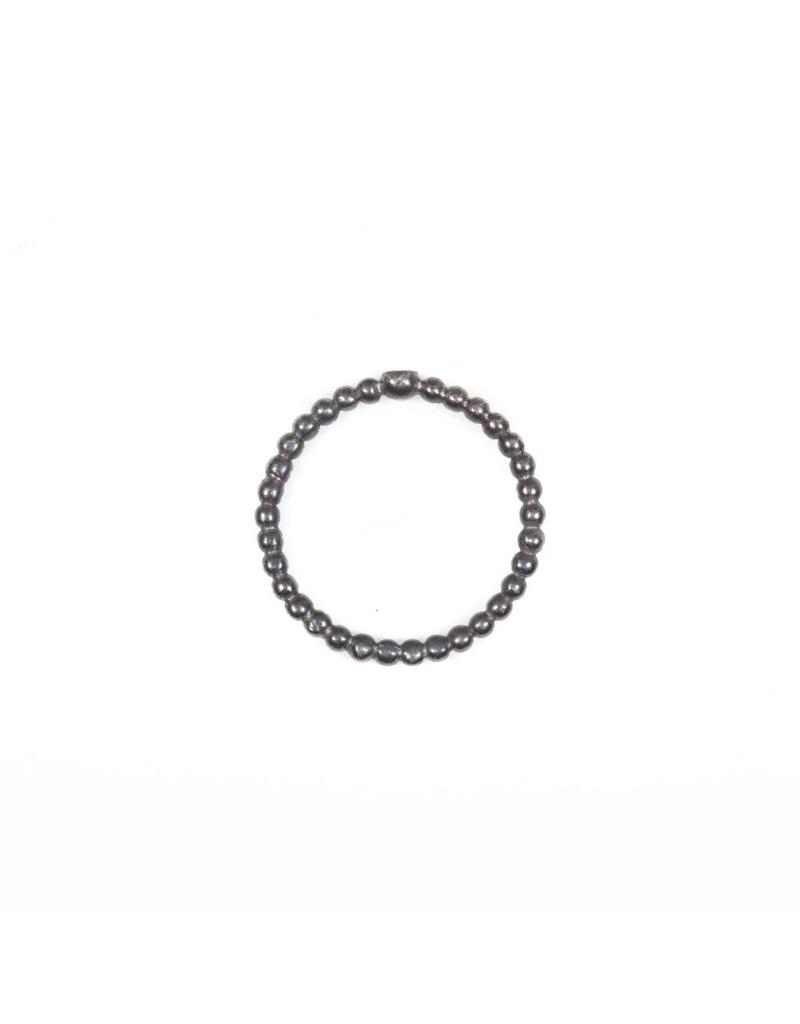 Beaded Band with Diamond in Oxidized Silver