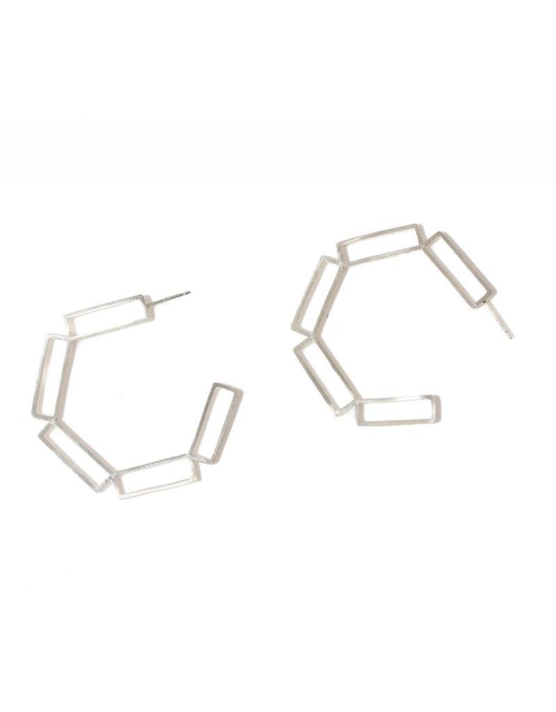 Open Rectangle Hoops in Silver