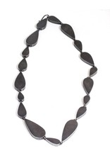 Hollow Teardrop Necklace in Oxidized Silver