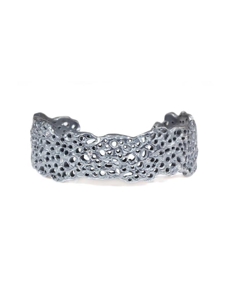 Koraru Coral Cuff with White Diamonds in Oxidized Silver