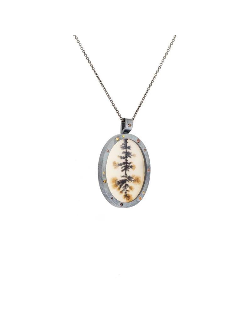 Victorian Agate Pendant with Autumn Diamonds in Oxidized Silver