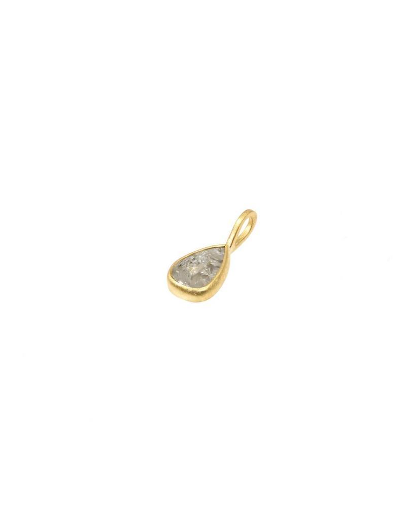 Teardrop Diamond Slice Pendant in 18k Yellow Gold
