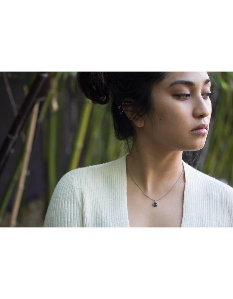 Organic Shaped Green Sapphire Pendant in Palladium