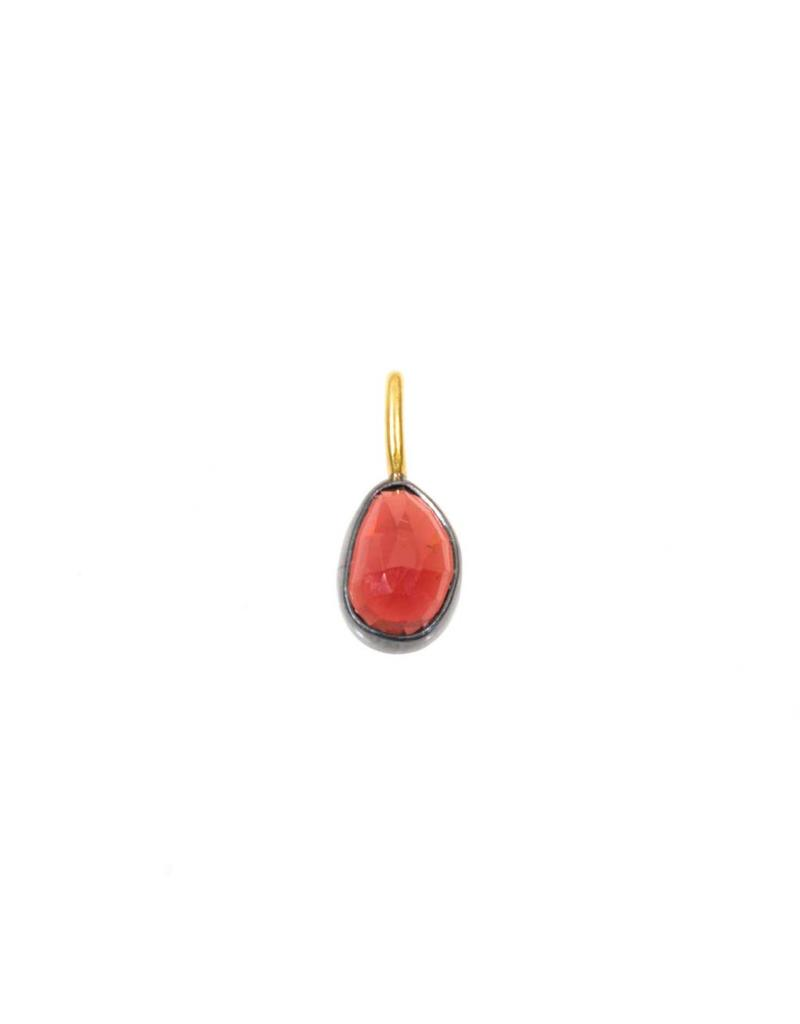 Rose Cut Garnet Pendant in Oxidized Silver with 18k Yellow Gold Bail
