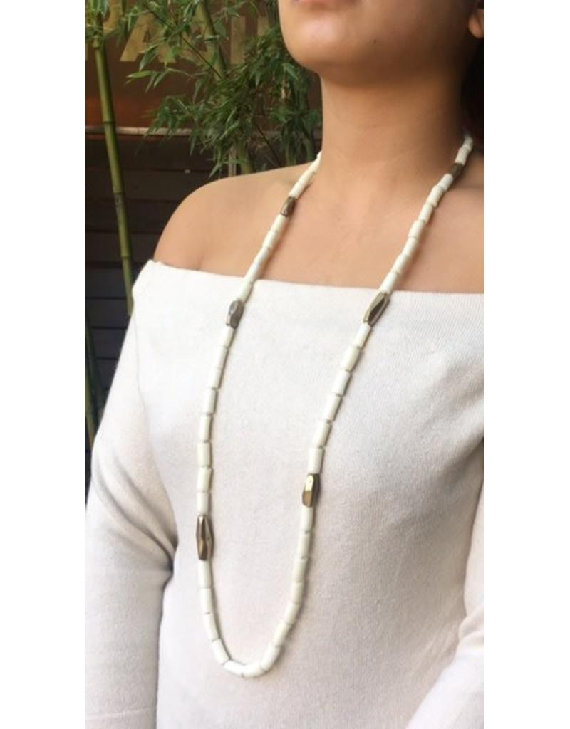 White Coral and Cognac Diamond Necklace with Yellow Bronze