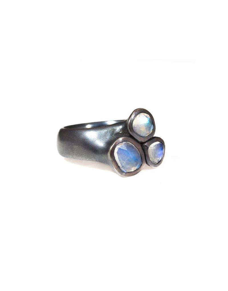 Trio Moonstone Ring in Oxidized Silver