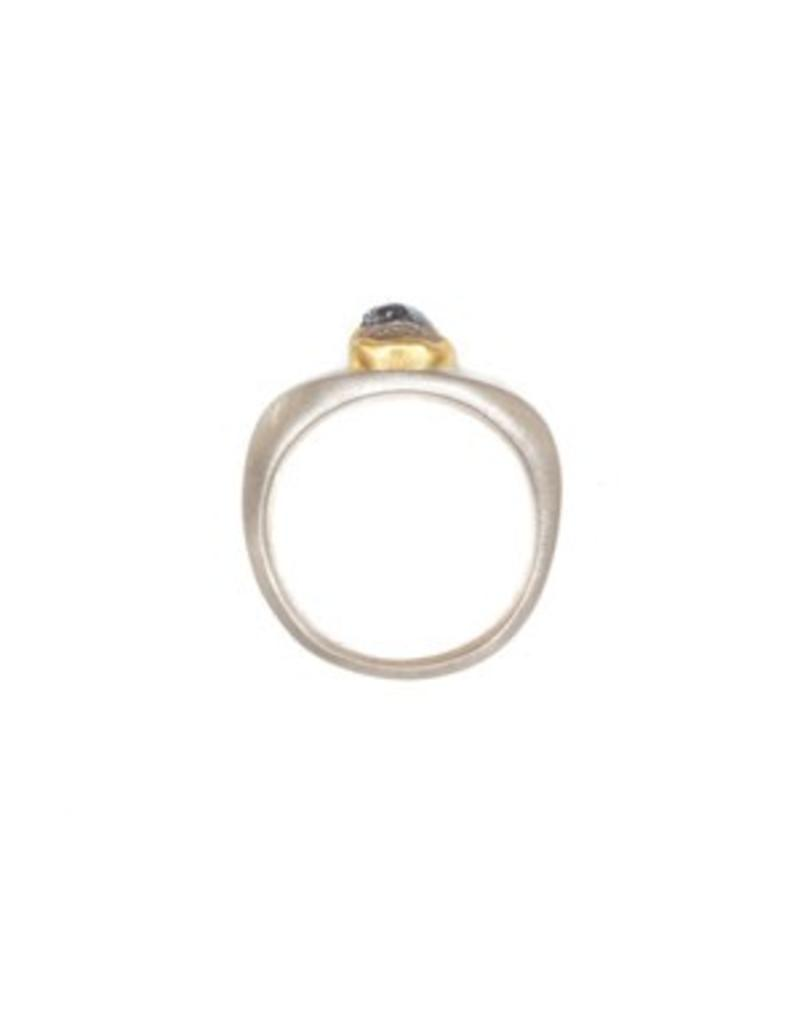 The Last Supper Ring with Raw Diamonds in 22k Gold Bezels and Silver Shank