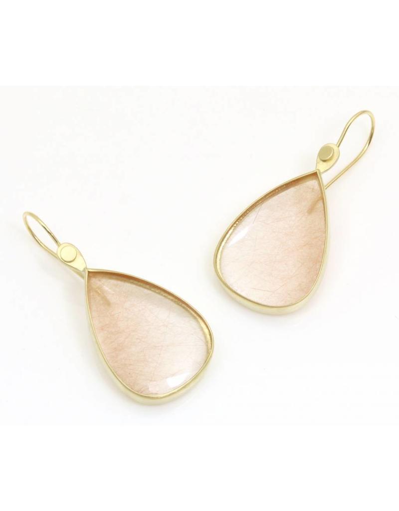 Teardrop Rutilated Quartz Earrings in 18k Yellow Gold