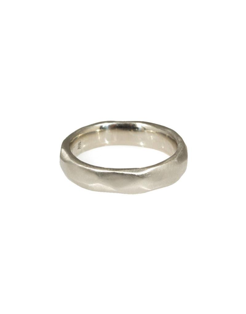4mm Wide Facets Band in 14k White Gold