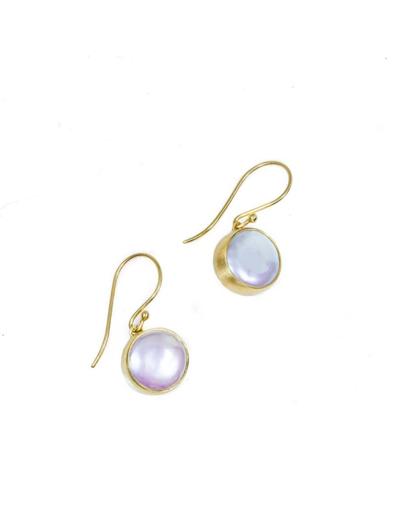 Medium Biwa Pearl Earrings on French Wire in 18k Yellow Gold