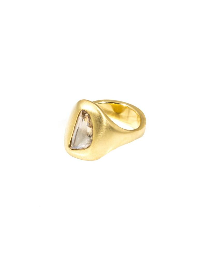 Organic Shaped Rose Cut Cognac Diamond Ring in 18k Yellow Gold
