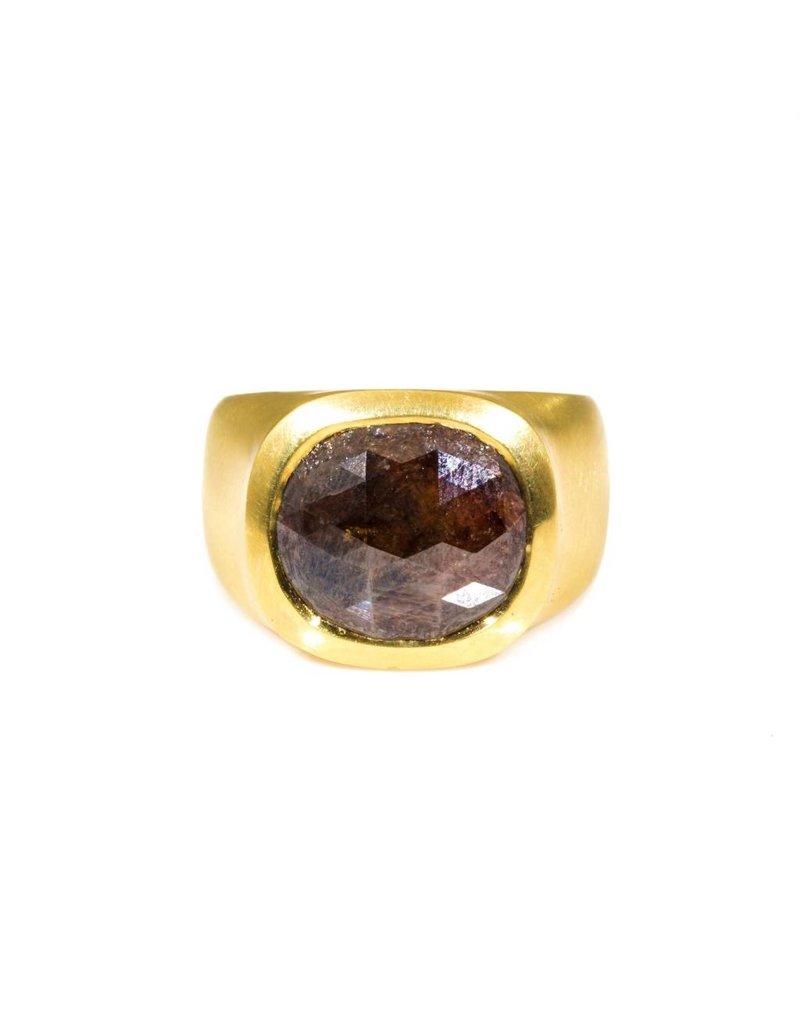 Rectangular Rose Cut Red Diamond Ring in 18k Yellow Gold