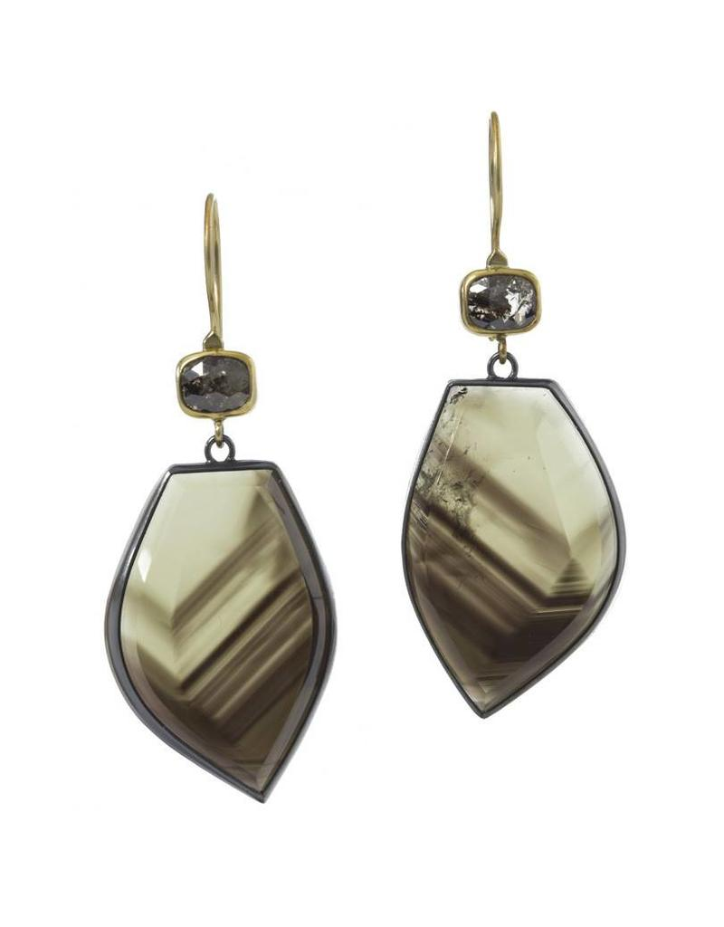 Smoky Quartz and Rose Cut Diamond Earrings in Oxidized Silver and 18k Yellow Gold