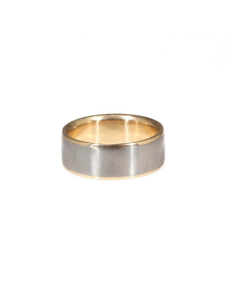 Mixed Metal Band in Titanium  with 14k Yellow Gold Liner