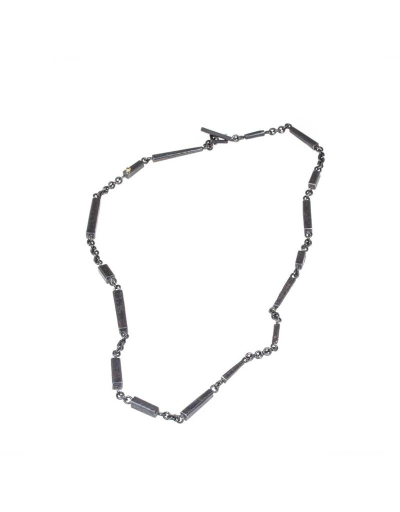 Blocks Necklace with Diamond in Oxidized Silver and 18k Yellow Gold