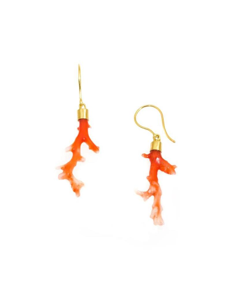 Coral Twig Earrings with 18k Yellow Gold