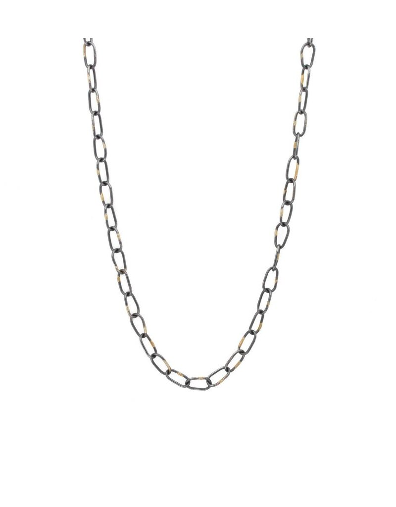 Heavyweight Organic Chain with 18K in Oxidized Silver - 28""