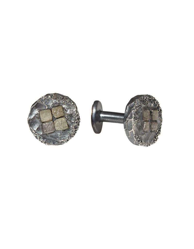 Topography Cufflinks with Raw Diamonds in Oxidized Silver