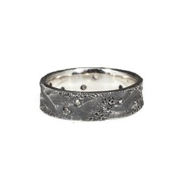 6mm Topography Ring in Oxidized Silver with Diamond Mackles