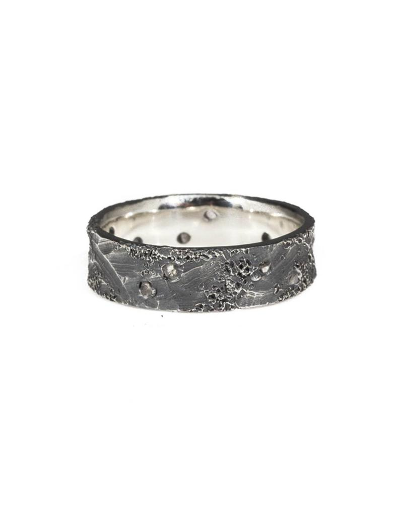 6mm Topography Ring in Oxidized Silver
