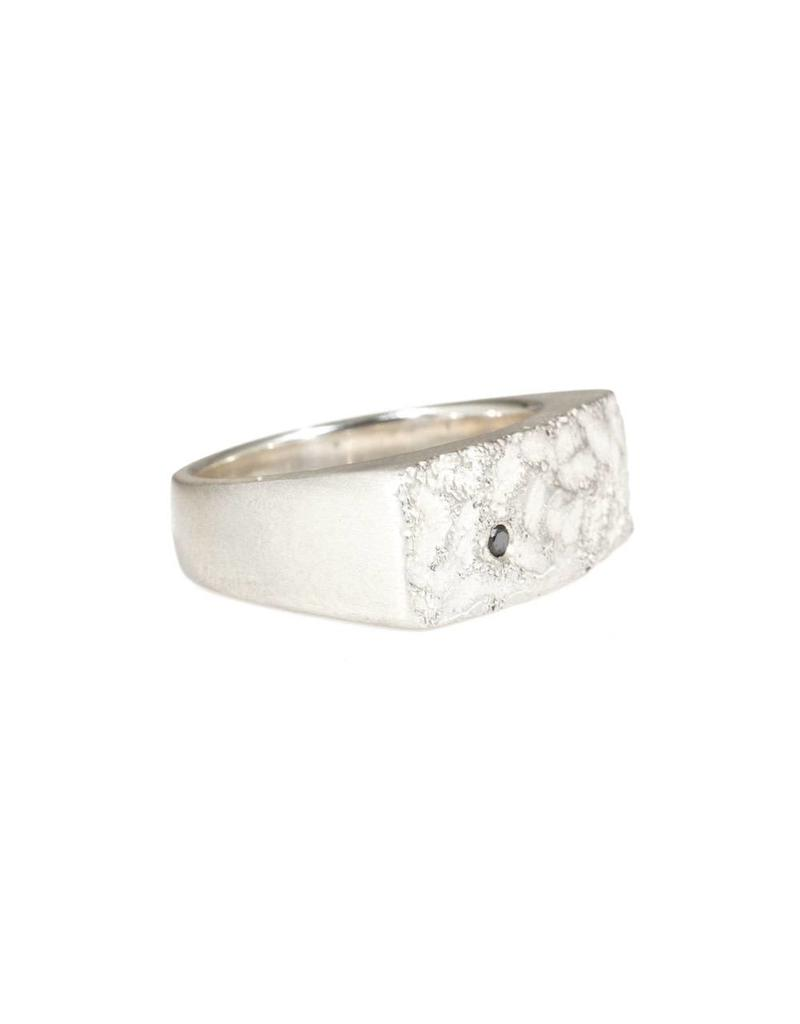 Wide Topography Signet Ring with Black Diamond in Silver